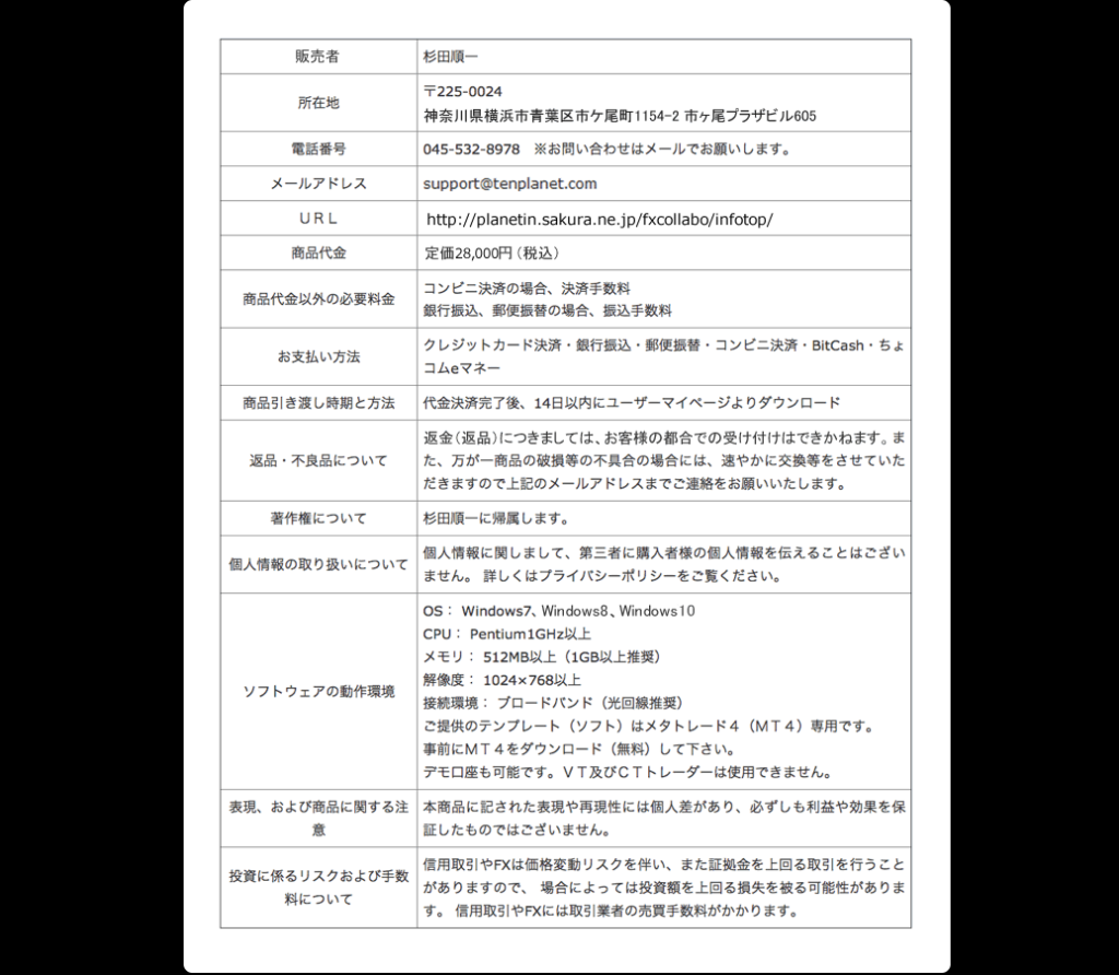 FXコラボバイナリー(杉田順一)特定商取引に基づく表記