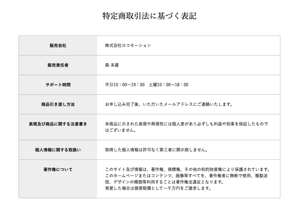 SIGMA(シグマ)株式会社ロコモーション 特定商取引に基づく表記