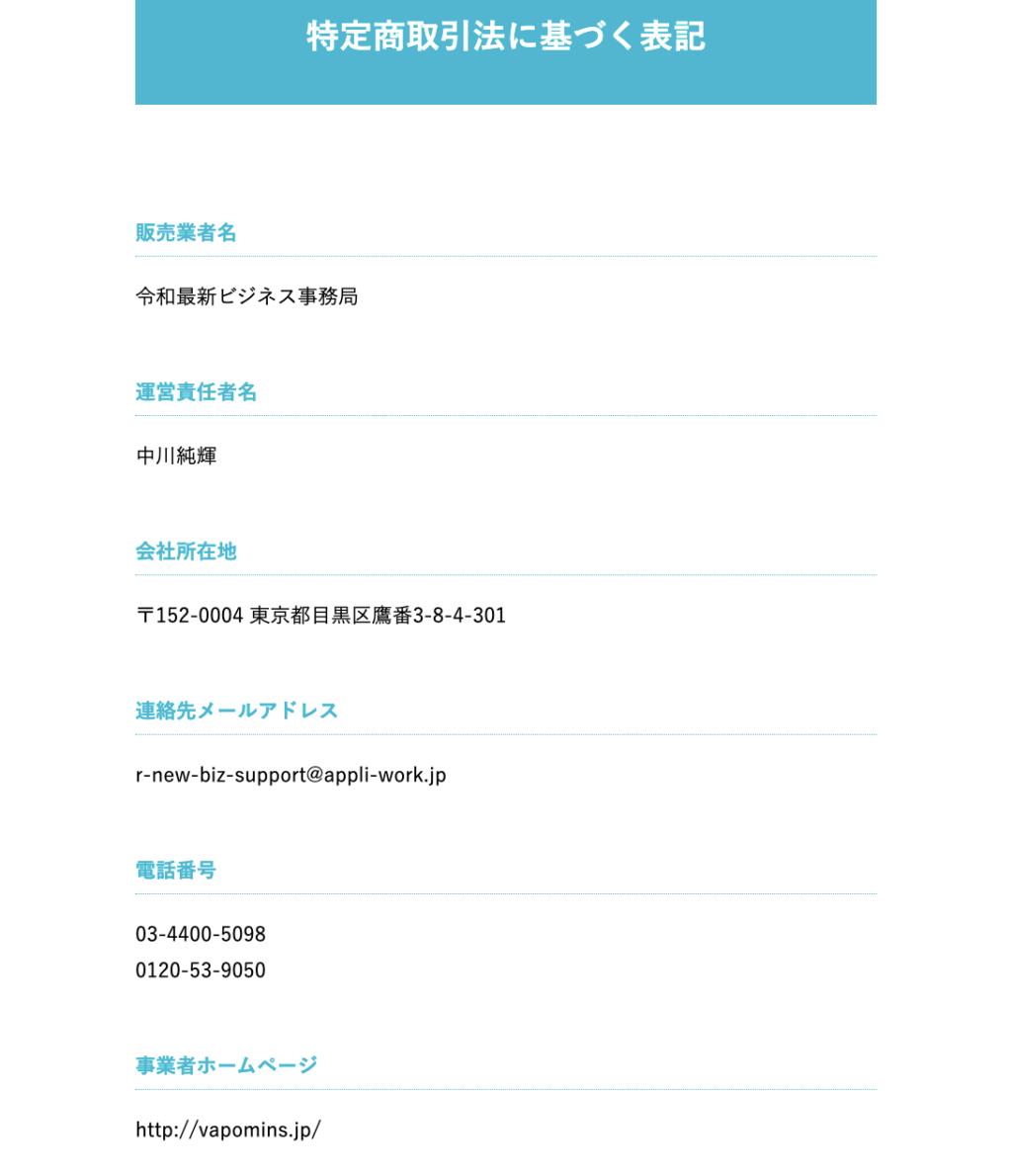 令和最新ビジネス2021 アプリワーク 特定商取引に基づく表記