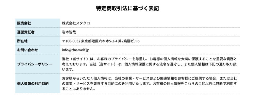 THEウルフRETURN ウルフ村田 特定商取引に基づく表記