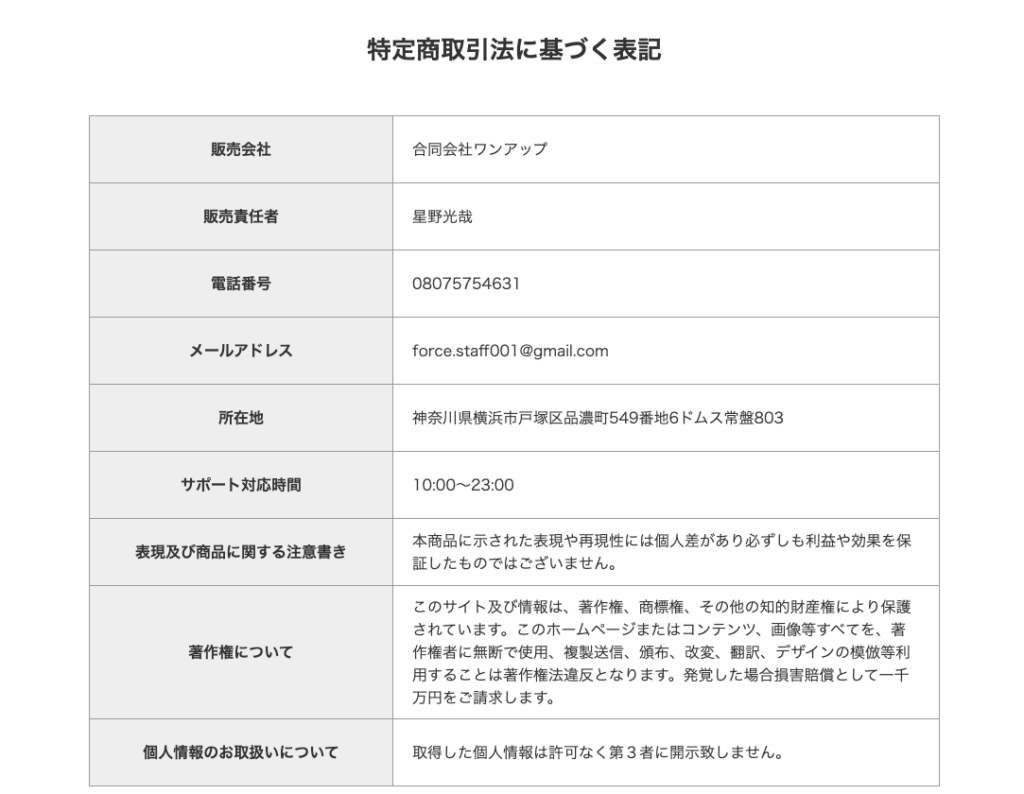 FORCE PROJECT(フォースプロジェクト)鈴木愛による投資案件 特定商取引に基づく表記