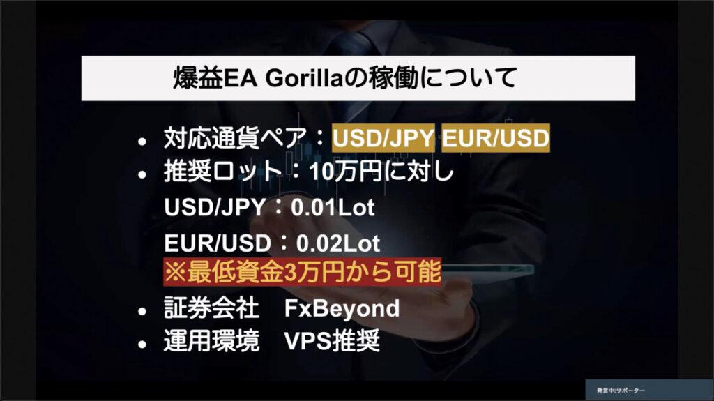 ゴリラ(GORILLA)FXEA(自動売買ツール)基本情報
