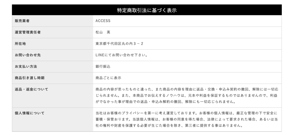 ACCESS(アクセス)松山英 特定商取引に基づく表記