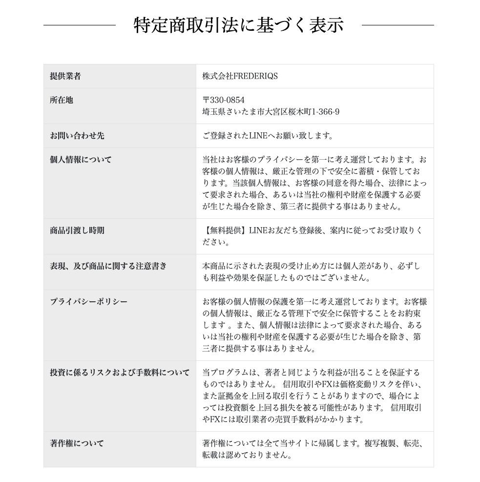 フォーチュンキャッシュ(三崎葵)FX自動売買(MAM)特定商取引に基づく表記