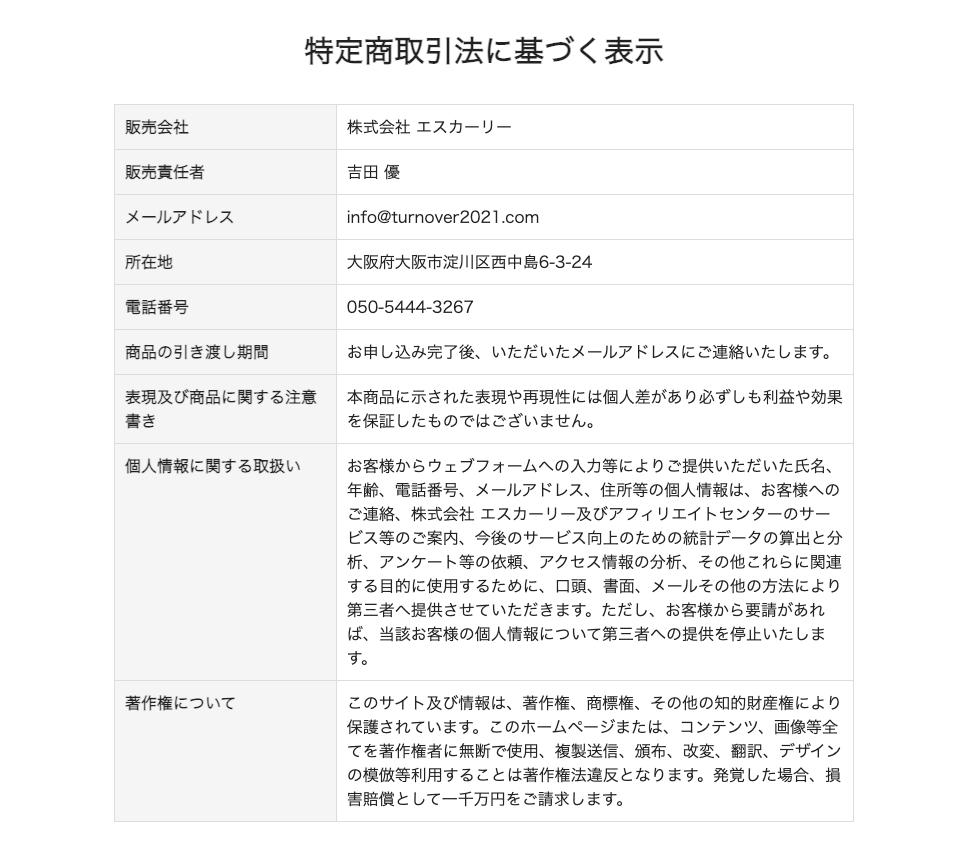 TURN OVER(ターンオーバー)特定商取引に基づく表記