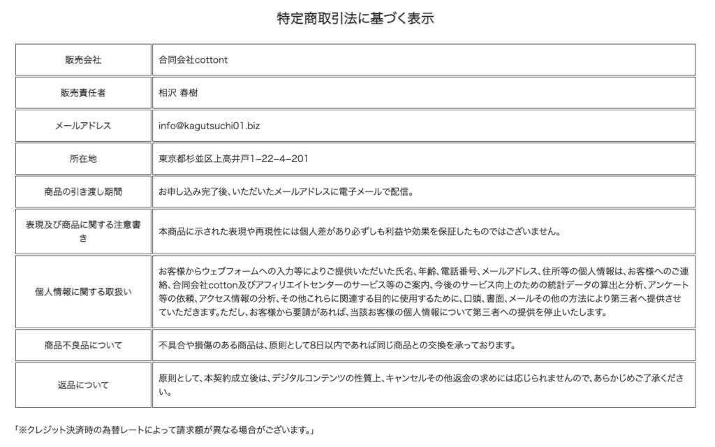カグツチ(KAGUTSUCHI)相沢春樹 特定商取引に基づく表記