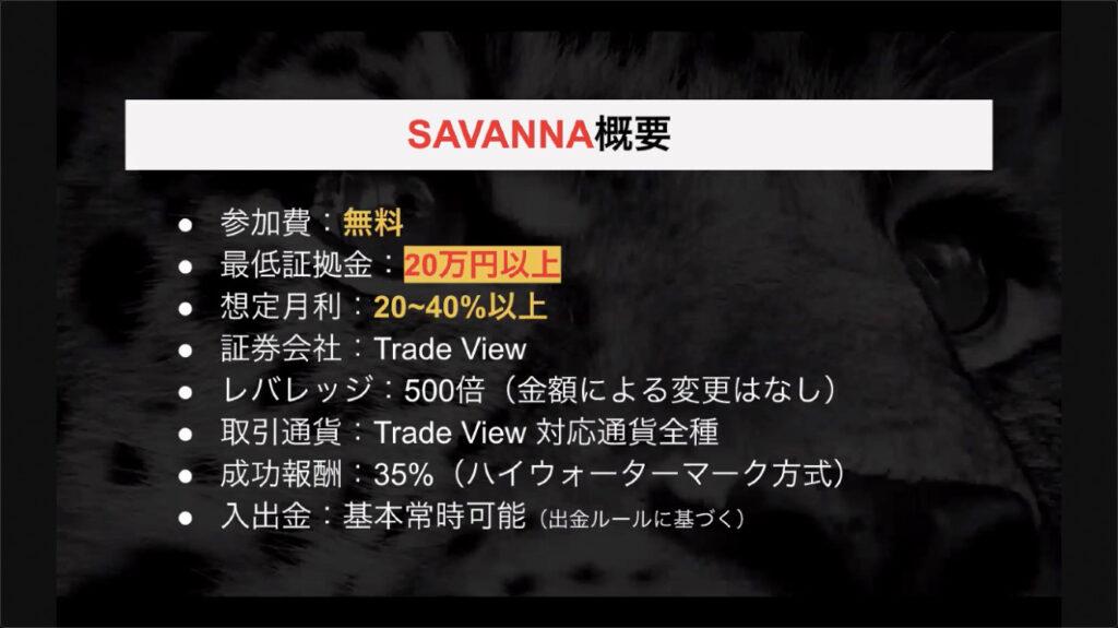サバンナシステム(SAVANNA)完全裁量FX自動売買 基本情報